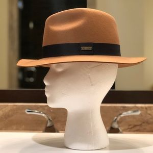 Accessories - Adora Wide Brim Hat in Camel w Black Ribbon